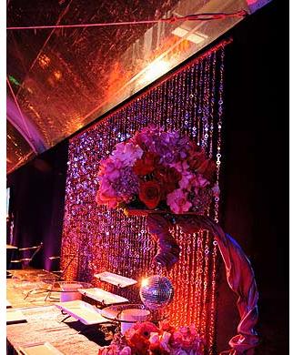 Buffet backdrop hanging beads